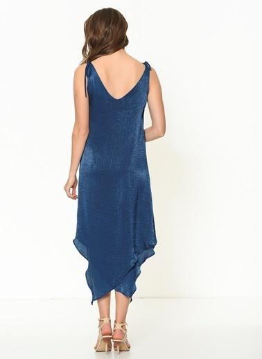 İroni Katlı Volanlı Saten Mini Elbise İndigo